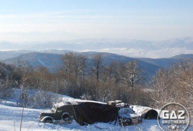 Zimowa wyprawa samochodem terenowym Gaz 69